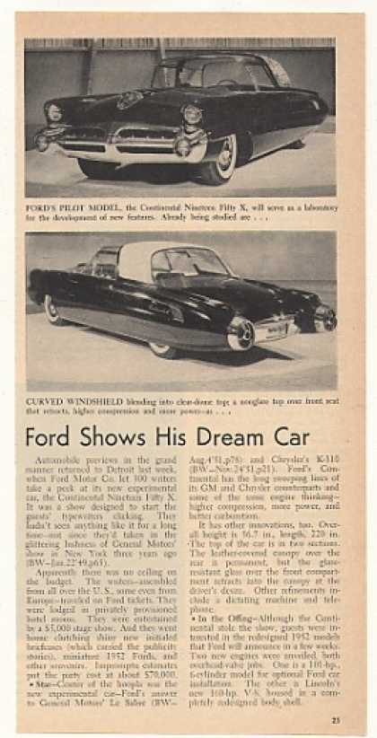 Ford Continental Nineteen Fifty X Experimental Car (1952)