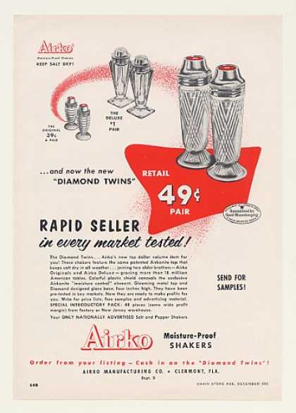 Airko Diamond Twins Salt Pepper Shakers Trade (1955)