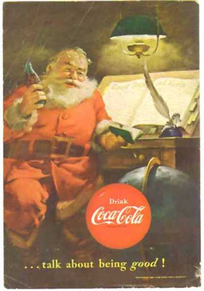Coke Christmas &#8211; Santa making his list &#8211; Sold (1951)