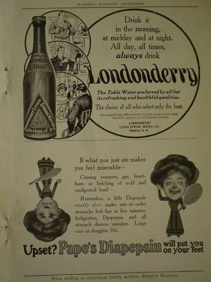 Londonberry bottled table water AND Pape's Diapepsin (1910)