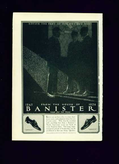 Banister Shoes Envoy & League Styles Ad Unusual (1924)