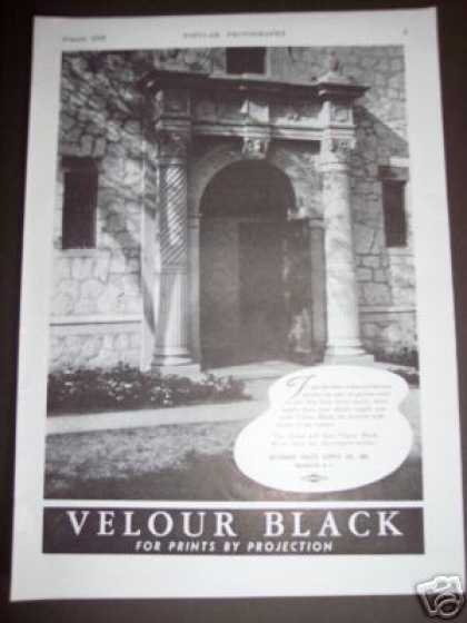 Original Velour Black Ad Slide Projector Prints (1938)