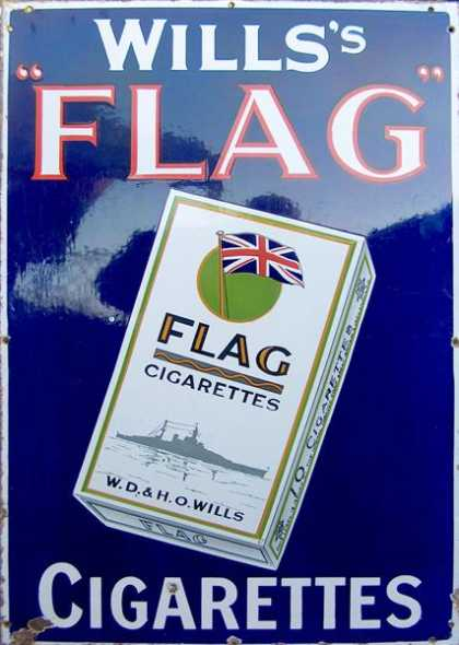 Wills' Flag Cigarettes Enamel Sign