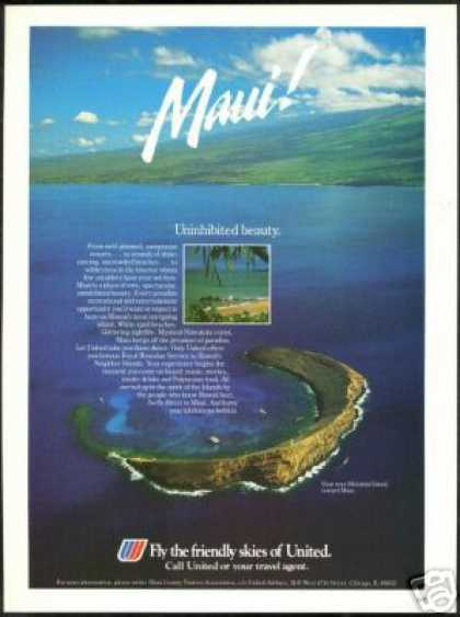 Hawaii Maui Molokini Photo United Airlines (1985)