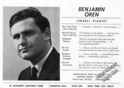 Benjamin Oren Photo Rare Ad Israeli Pianist (1967)