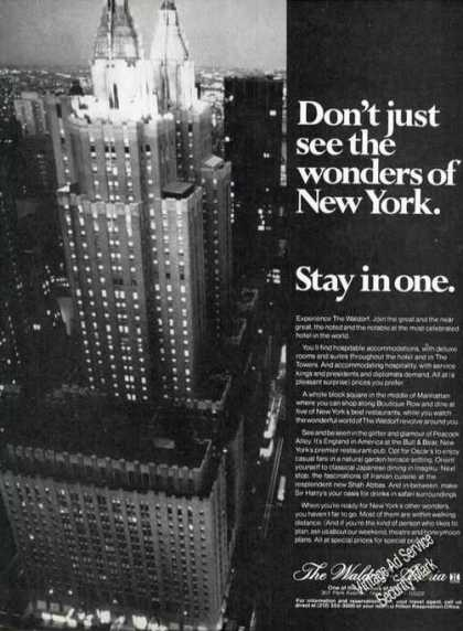 Waldorf-astoria Nightime Photo Ad Ny Travel (1978)