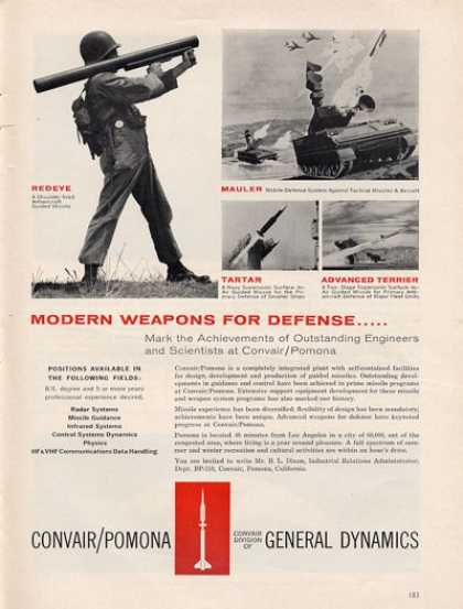 Convair Pomona Military Weapons Army Mauler Ad T (1961)