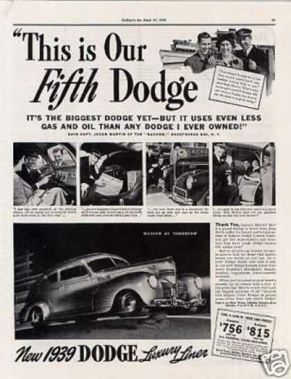 "Dodge Luxury Liner Car Ad ""This Is Our Fifth... (1939)"