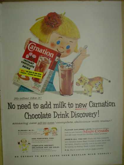 Carnation Chocolate drink discovery. No need to add milk (1955)