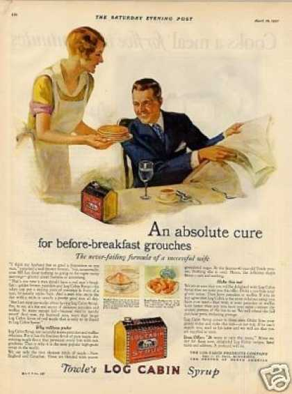 "Log Cabin Syrup Color Ad ""An Absolute Cure... (1927)"