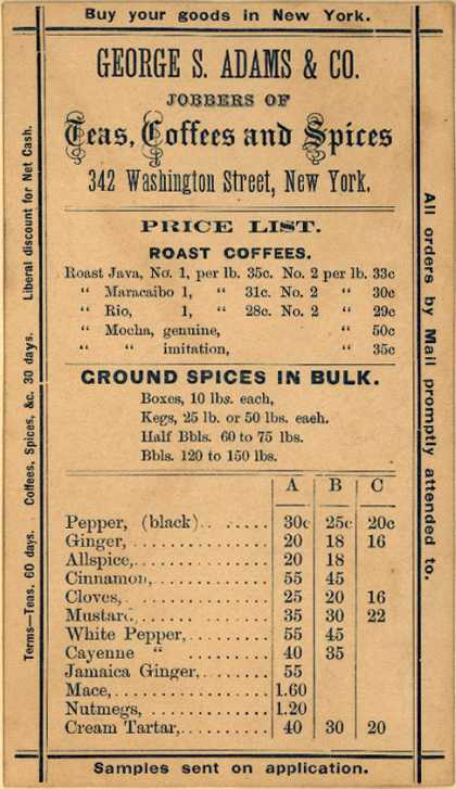 George S. Adams & Co.'s Teas, Coffees and Spices – Jobbers of Teas, Coffees and Spices
