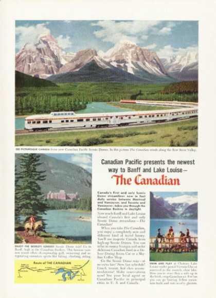 Canadian Pacific Scenic Dome Train Ad Banff Louise (1955)