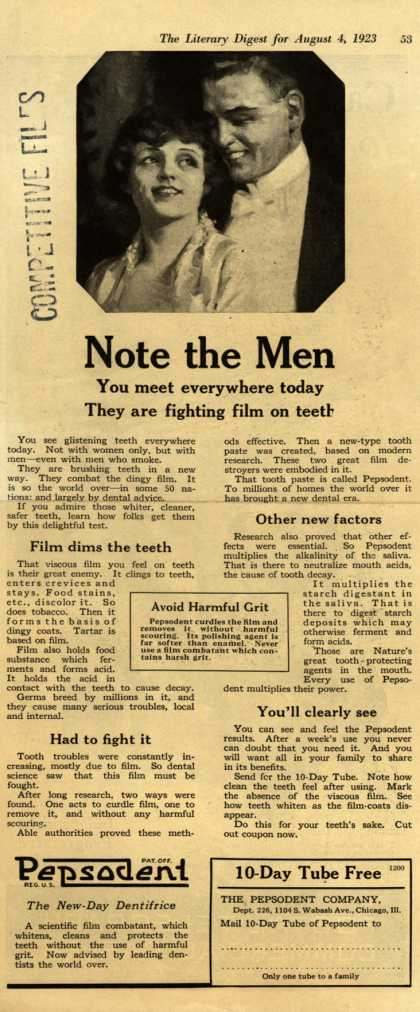 Pepsodent Company's tooth paste – Note the Men (1923)