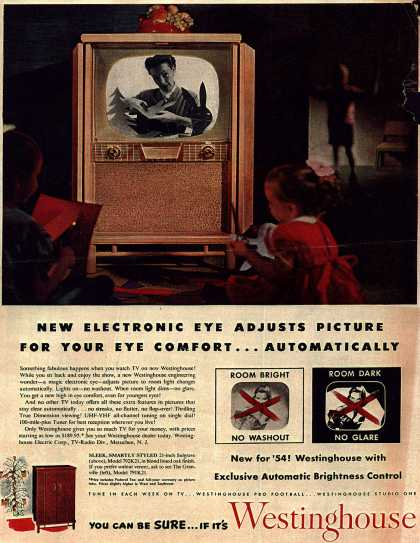 Westinghouse Electric Corporation's Television – New Electronic Eye Adjust Picture For Your Eye Comfort... Automatically (1953)