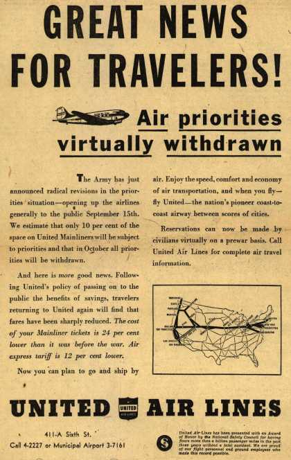 United Air Lines – Great News For Travelers! Air Priorities virtually withdrawn (1945)