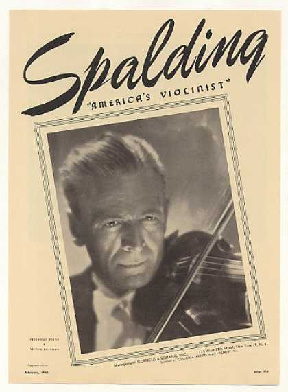 Violinist Albert Spalding Photo (1948)