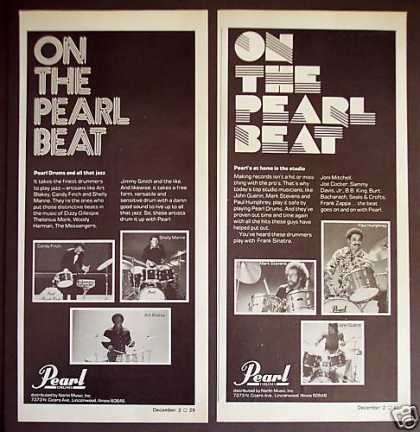 Pearl Drums Famous Drummers Photo 2 Print Ads (1976)