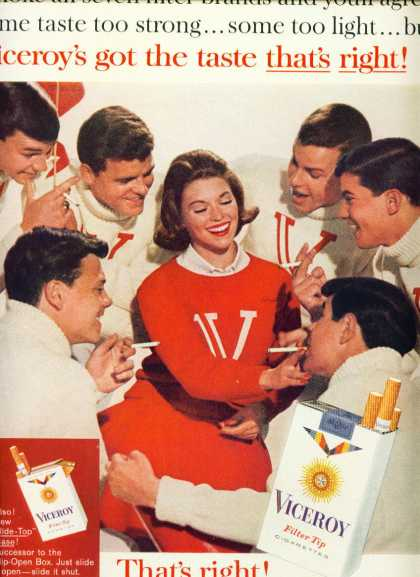Viceroy Filter Tip Cigarettes Coed & Boys (1960)