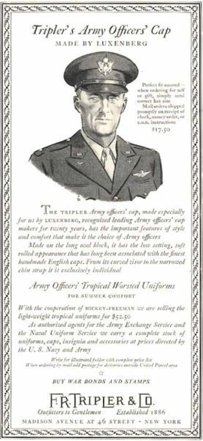 R.r. Tripler & Co Army Officer Cap (1949)