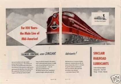 Sinclair Oil 2 Page Ad Illinois Central Emd E-7's (1951)