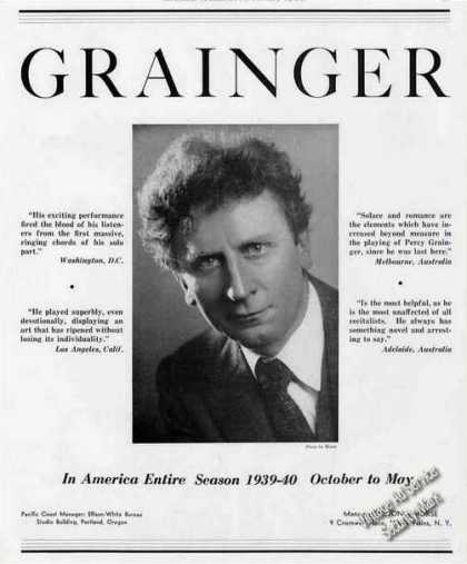 Percy Grainger Photo Pianist Trade (1939)