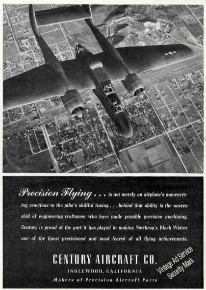 "Northrop Black Widow Photo ""Precision Flying"" (1945)"