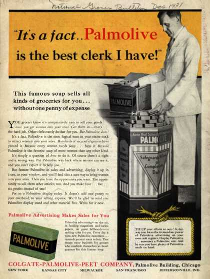 "Colgate-Palmolive-Peet Company's Palmolive Soap – ""It's a fact...Palmolive is the best clerk I have!"" (1931)"