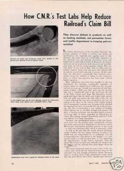 """How Cnr's Test Labs Reduce Claim Bill"" Article (1952)"