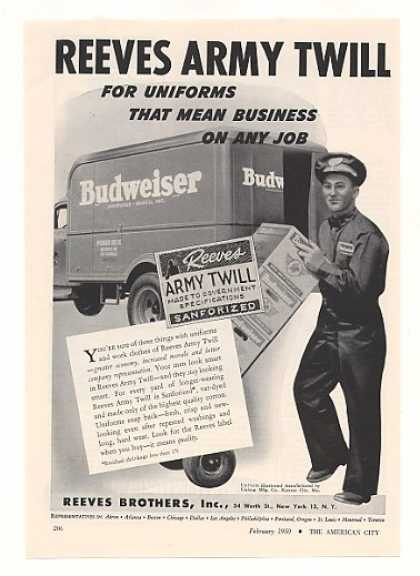 '50 Budweiser Beer Delivery Man Truck Reeves Uniform (1950)