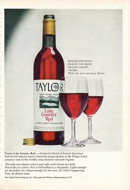 Taylor New York Lake Country Red Wine Bottle (1966)