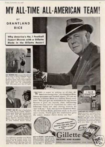 Gillette Razor and Blades Ad Grantland Rice (1938)