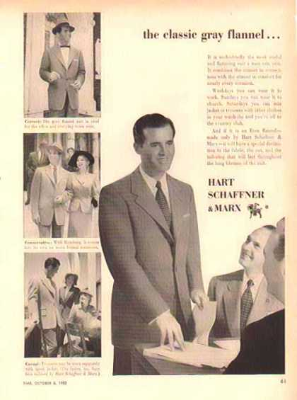 Hart Schaffner & Marx Fashion – Classic Grey Flannel Suit (1952)