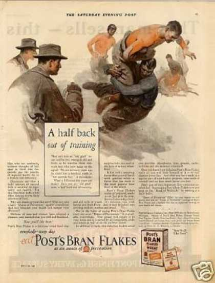 "Post's Bran Flakes Cereal Color Ad ""A Half Back... (1926)"