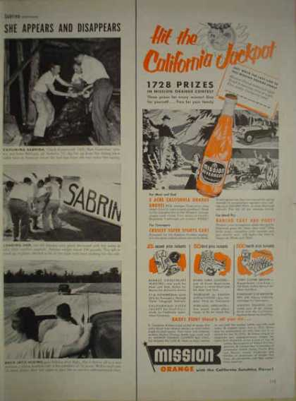 Misson Orange Beverage Pop California Jackpot HALF PAGE (1952)