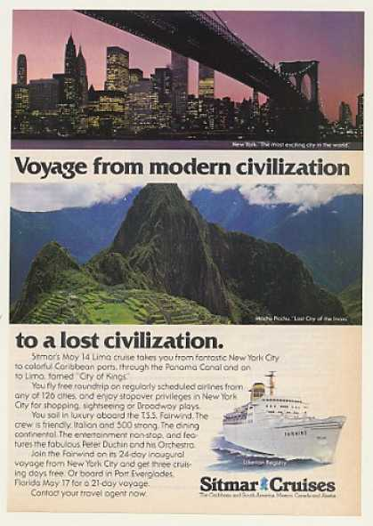 Sitmar Cruise Fairwind Ship NY WTC Machu Picchu (1977)