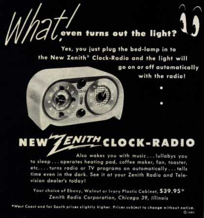 Zenith Radio Corporation's Clock-Radio – What! Even turns out the light? (1950)