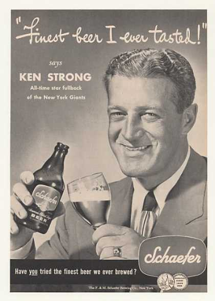 New York Giants Ken Strong Schaefer Beer Photo (1947)