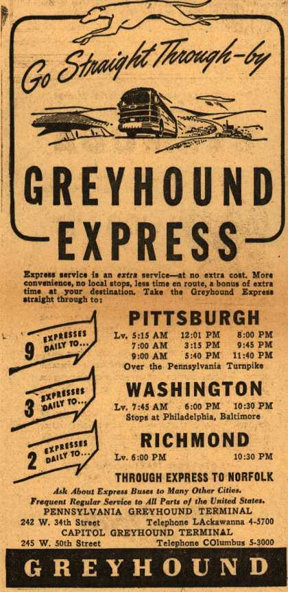 Greyhound – Go Straight Through-by Greyhound Express (1946)