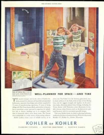 Kohler Bathroom Plumbing Fixture Boy Mirror (1948)