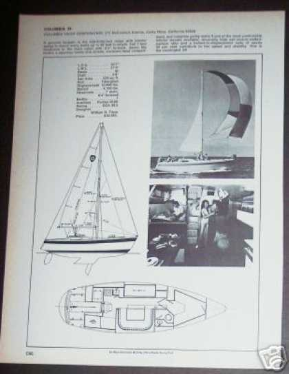 Columbia 34 Yacht Sailboat Boat Ad – Spec Page (1971)