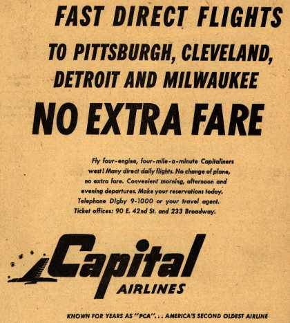 Capital Airline's various destinations – Fast Direct Flights (1947)