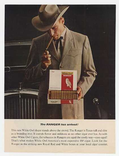 White Owl Ranger Cigars Man Holding Cigar Box (1963)