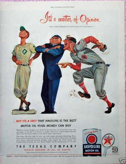 Texaco Havoline Oil Umpire Baseball Player Out (1952)