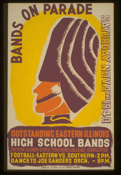 Bands on parade – outstanding eastern Illinois high school bands. (1940)