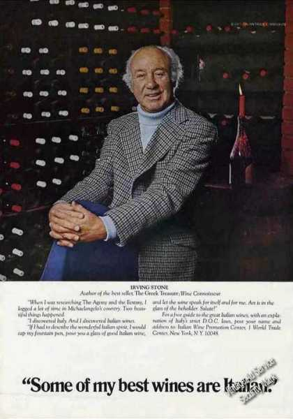 "Irving Stone Photo ""Best Wines Are Italian"" (1977)"