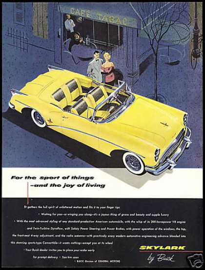 Yellow Buick Skylark Convertible Car (1954)