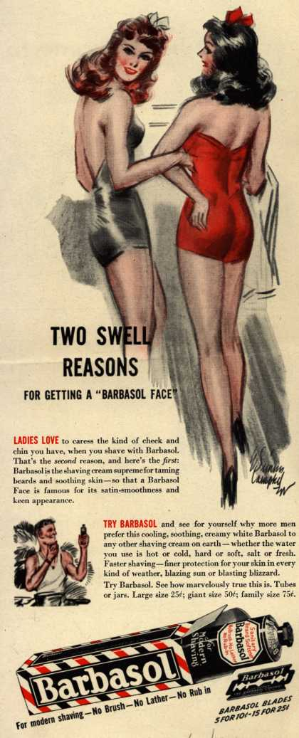 "Barbasol – Two Swell Reasons For Getting A ""Barbasol Face"" (1944)"