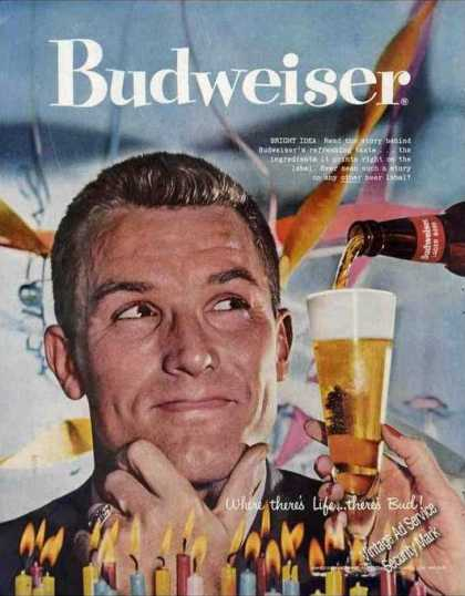 Budweiser Large Color Beer (1957)