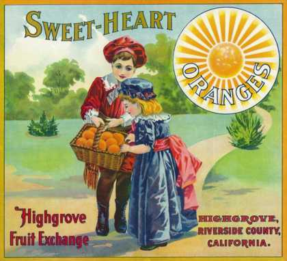Highgrove, California, Sweet-Heart Brand Citrus Label