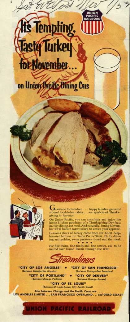 Union Pacific Railroad's Fine Food – It's Tempting, Tasty Turkey for November...on Union Pacific Dining Cars (1952)